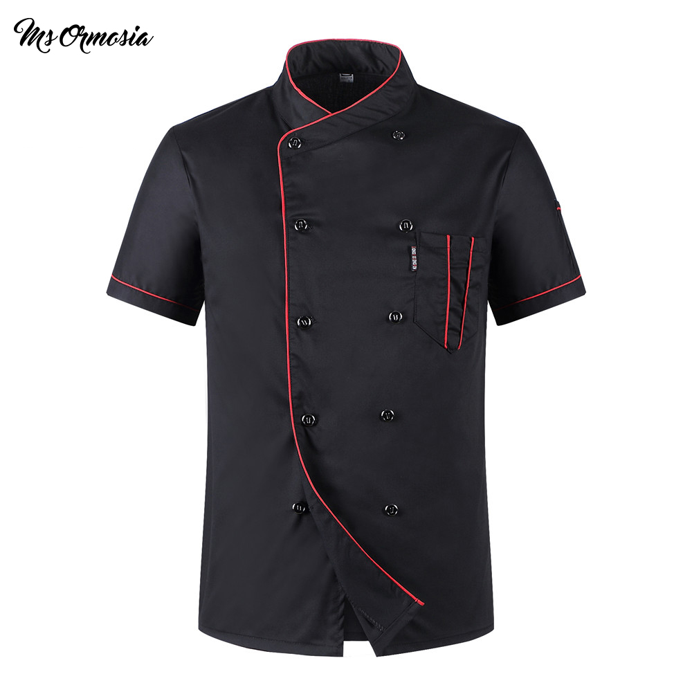 Unisex Casual Soft Chef Jackets Short Sleeve Oblique Collar Double Breasted Kitchen Catering Restaurant Food Serive Work Uniform