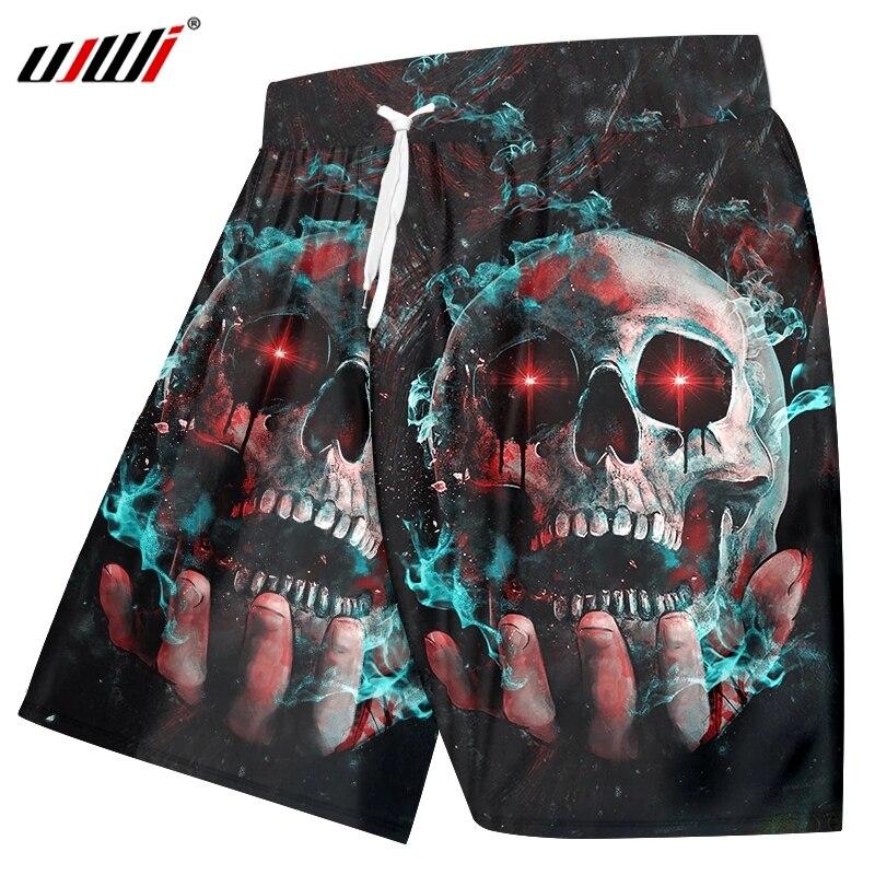 UJWI Man Horror Skull Beach Shorts Men's 3D Harajuku Oversized Red Eye Smoke Shorts Printed Cartoon Fitness Clothing