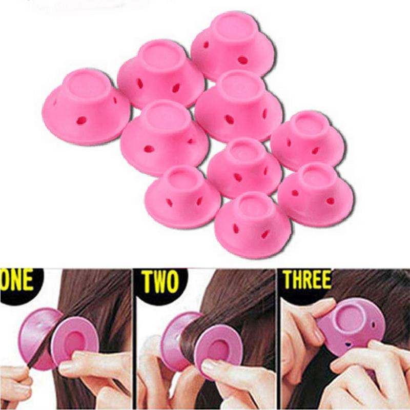 10 pçs rosa silicone mini modelador de cabelo forma cogumelo nenhum calor cabelo diycurlers rolos mágicos ferramenta de cabelo sono rolos de cabelo onda ferramenta