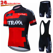 2021 New STRAVA Summer Cycling Jersey Set Breathable Team Racing Sport Bicycle Jersey Mens Cycling Clothing Short Bike Jersey