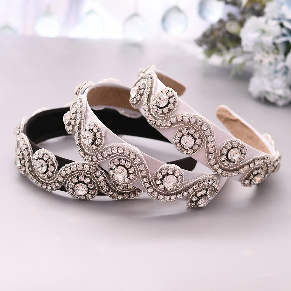 TOPQUEEN Wedding Rhinestone Hair Accessories Bridal Tiara Headpieces Silver Rhinestone Headband Wedding Hair Jewelry  S10-FG