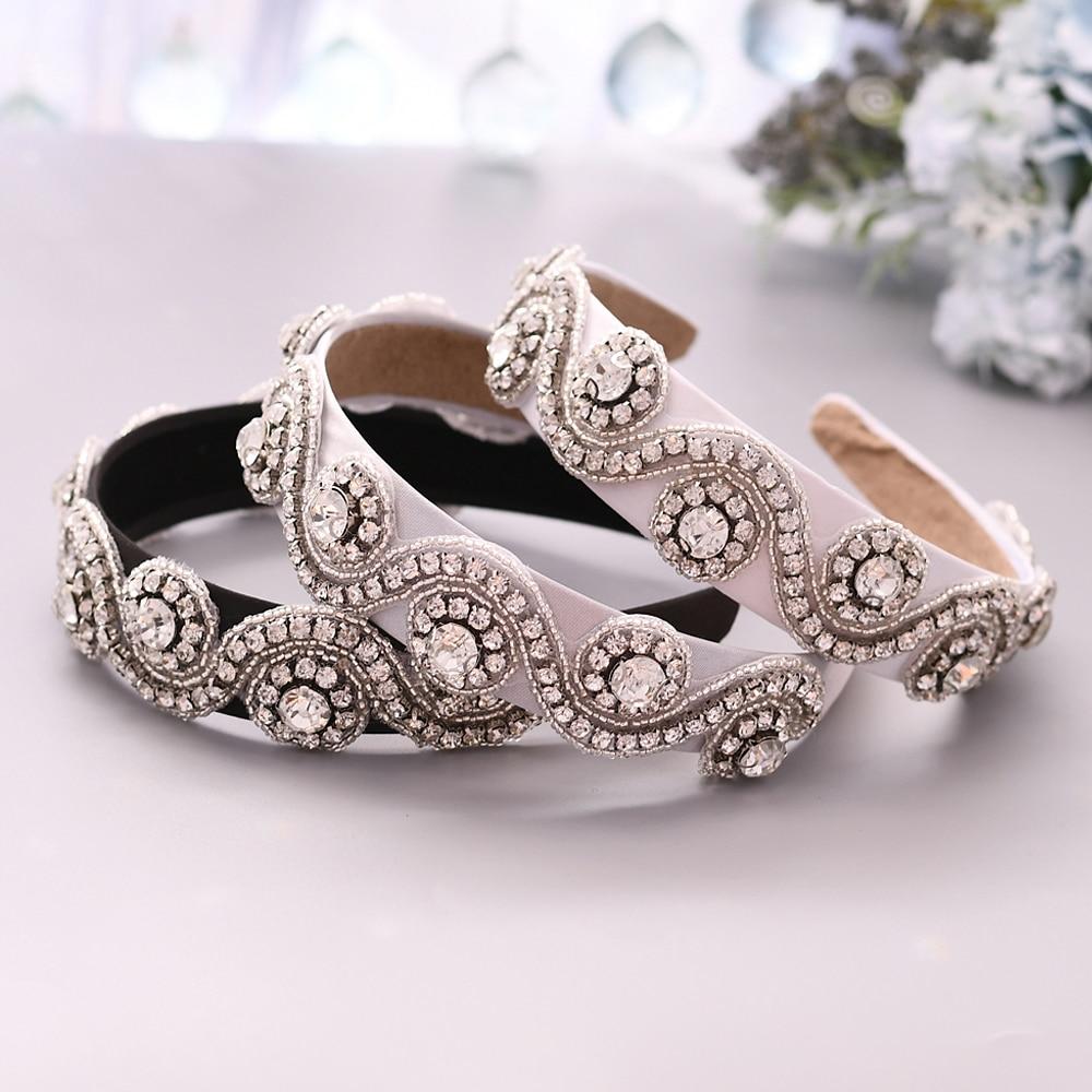TOPQUEEN Wedding Rhinestone Hair Accessories Bridal Tiara Headpieces Silver Rhinestone Headband Wedding Hair Jewelry  S10-FG