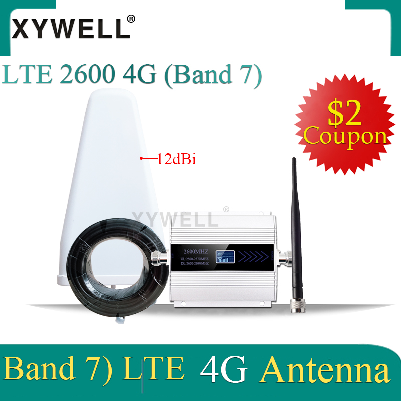 XYWELL 4G Signal Booster FDD LTE 2600mhz (LTE Band 7) Cell Phone Signal Repeater 4G LTE 2600 Network CellularSignal Amplifier