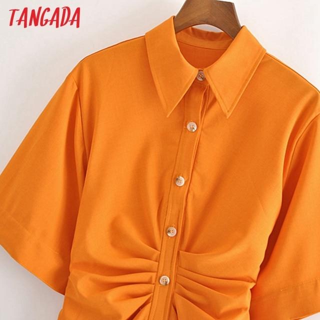 Tangada fashion women solid orange tunic dress short sleeve elegant ladies midi dress vestidos 3H906 3