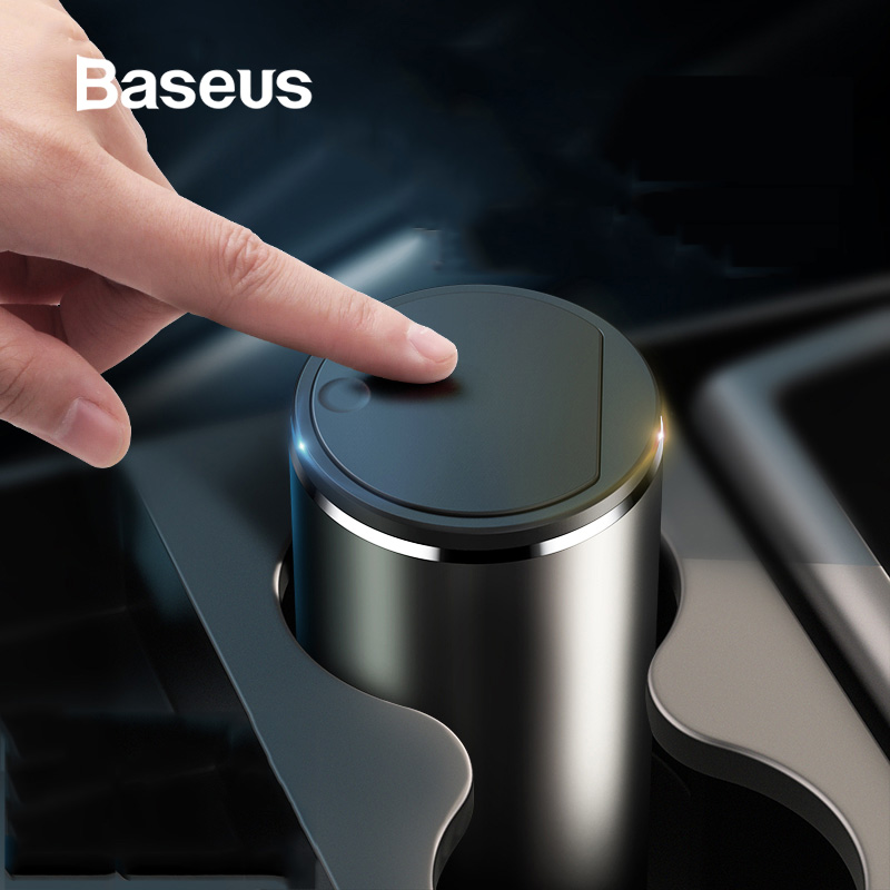 Baseus סגסוגת רכב אשפה יכול אוטומטי ארגונית אחסון תיק רכב מאפרה פח אשפה מחזיק תיק אבק אוטומטי אבזרים