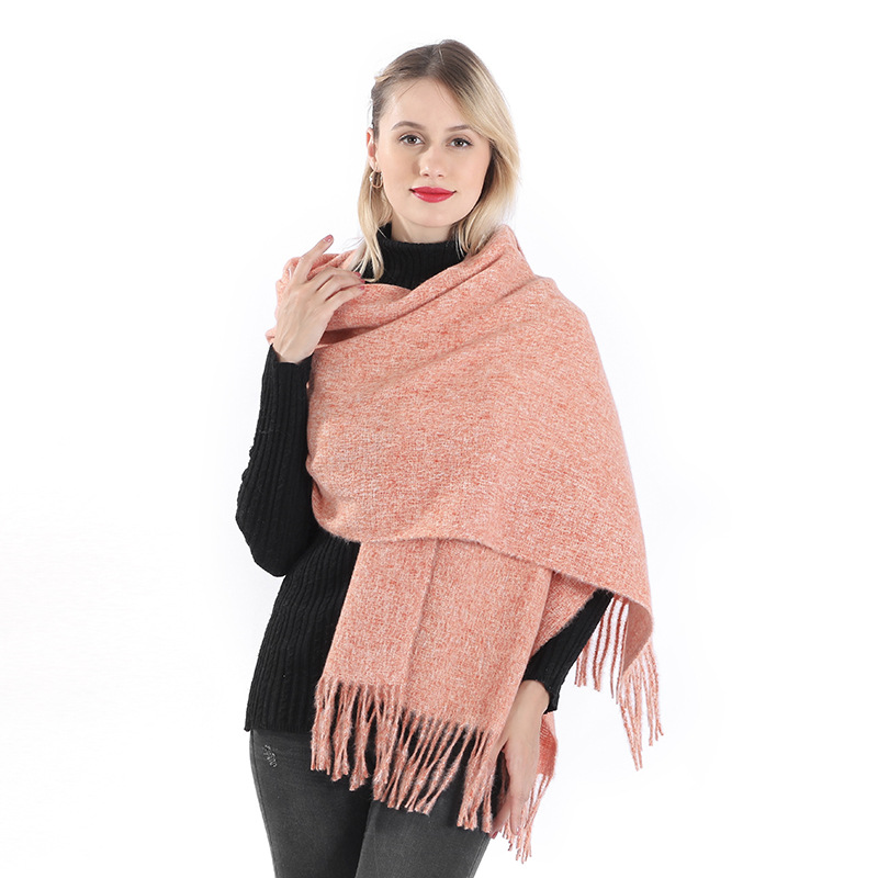 19 Years STR New Style Winter Faux Cashmere Solid Color Tassels Clip Flower Bristle Scarf Women's Scarf Shawl