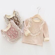 Shirt Blouse Kids Tops Long-Sleeve Toddler Girls Baby Children Warm for Velvet Lace Pullovers