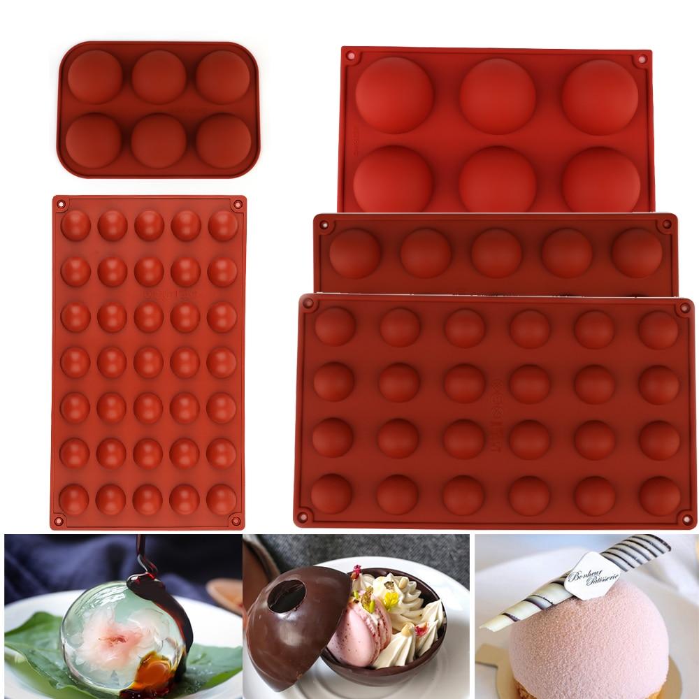 Круглая форма для торта, коричневая полушариковая Сфера, силиконовая форма для шоколада, десерта, форма «сделай сам», украшение для торта, с...