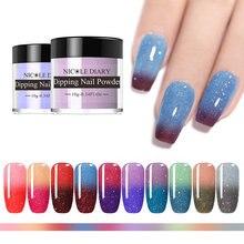 Nicole diary 10g pó de mergulho térmico gradiente mudança de cor prego glitter pó natural seco pigmento em pó decoração