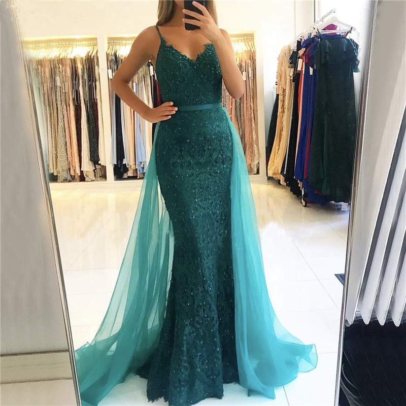 BEPEITHY V-Neck Mermaid Long Dress Evening Dresses 2020 Vestido De Festa Green Lace Prom Party Gown Robe De Soiree