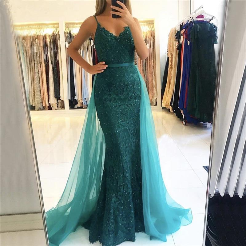 BEPEITHY V-Neck Mermaid Long Dress Evening Dresses 2020 Vestido De Festa Green Lace Prom Party Gown Robe De Soiree