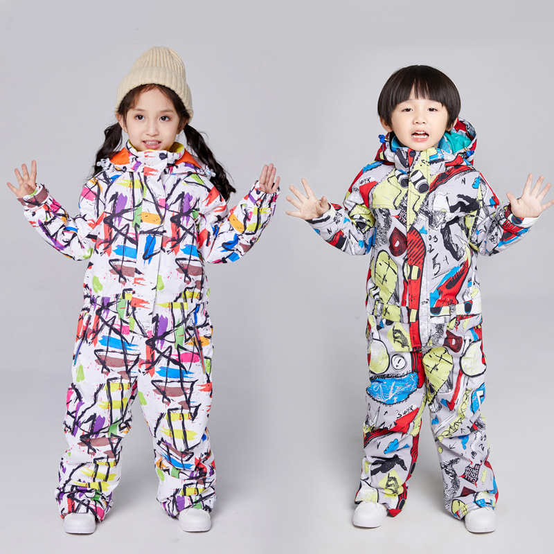 Children Jumpsuit Ski Set Girl Siamese Waterproof Boy Outdoor Snowboard Jacket Warm Cartoon Hooded Overalls Kids Skiing Suit