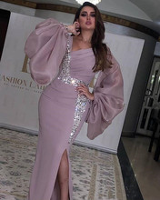 Prom Dresses Mermaid 2020 Long For Women In Turkey Sexy Split Chiffon With Beading Formal Evening Night Gowns