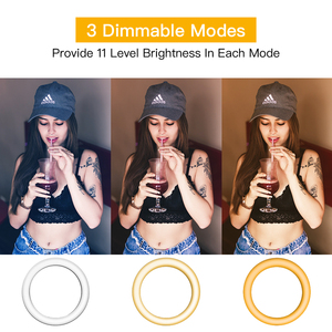 Image 3 - 6/10inch Dimmable Ring Light with Stand LED Camera Selfie Light Ring for Phone with Tripod Lamp for Makeup Video Photography