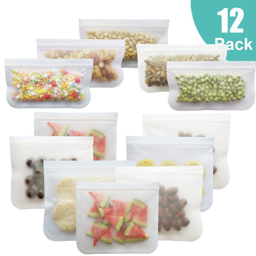 12Pcs/Set Food Bag Frosted PEVA Silicone Food Fresh-keeping Bag Reusable Freezer Bag Zipper Leakproof Top Fruits Lunch Box