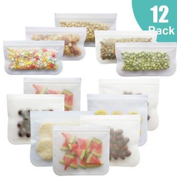 Bolsa de silicona para alimentos, 12 unidades/juego, bolsa esmerilada de silicona PEVA, bolsa reutilizable para mantener los alimentos frescos, bolsa con cierre, bolsa de frutas a prueba de fugas