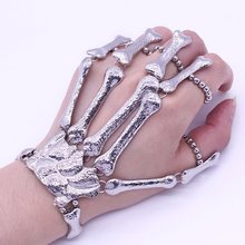 Pulseira de dedo para festa, halloween, clube noturno, festa punk, pulseira gótico, esqueleto, osso, pulseira de mão, decoração para festa