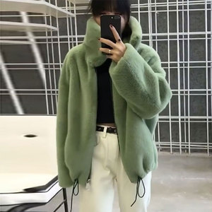Image 3 - אופנה מותג פלאפי גדול צווארון פו פרווה מעיל נשי עבה חם שועל פרווה חזיית רוכסן תפרים מעיל עם שרוך