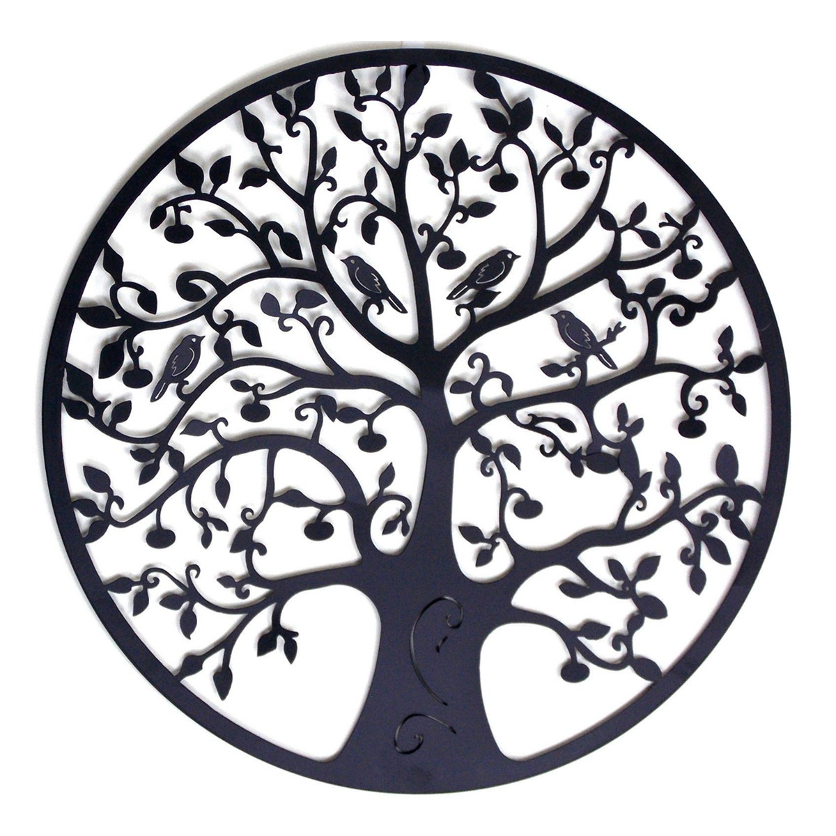 Round Wall Hanging Decorations Diameter 60cm Tree of Life Iron Art Home Hanging Ornament Metal Tree Spring Party Wall Decor