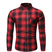 2019 Mens New Cotton Youth Casual Single Pocket Comfort Slim Plaid Lapel Long Sleeve Shirt Fashion camisa masculina