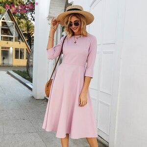Image 4 - S.FLAVOR Для женщин светло фиолетовый платье трапециевидной формы платье элегантное платье с рукавом три четверти Повседневное платье без рукавов для женщин сезон: весна–лето вечерние платья