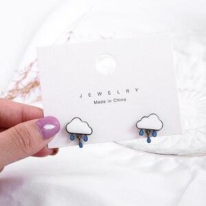 Новые серьги Shamir в форме облаков и дождя из Южной Кореи, изящные маленькие серьги, ювелирные изделия для девочек, подарки