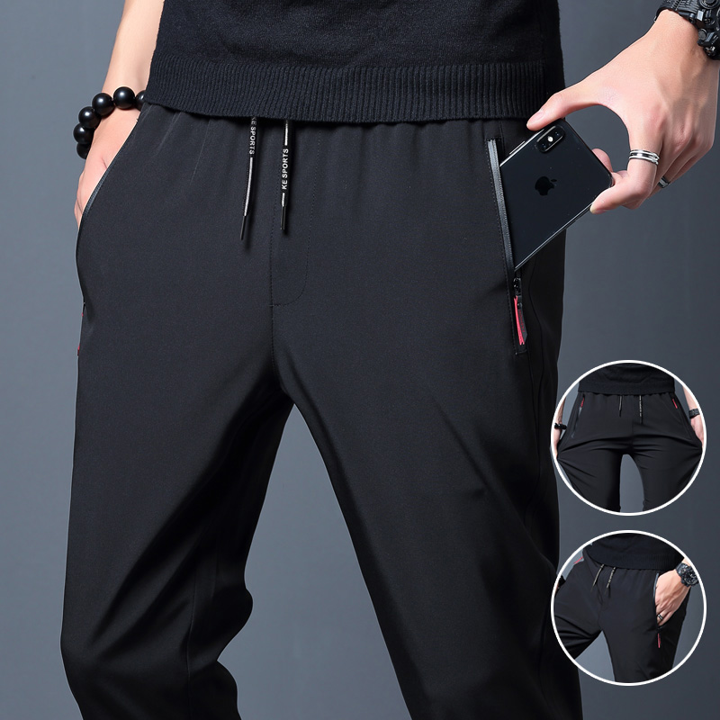 Jodimitty Fashion 2021 Men Casual Pants Joggers Fitness Quick Dry Sweatpants Male Summer Breathable Slim Trousers Pencil Pants
