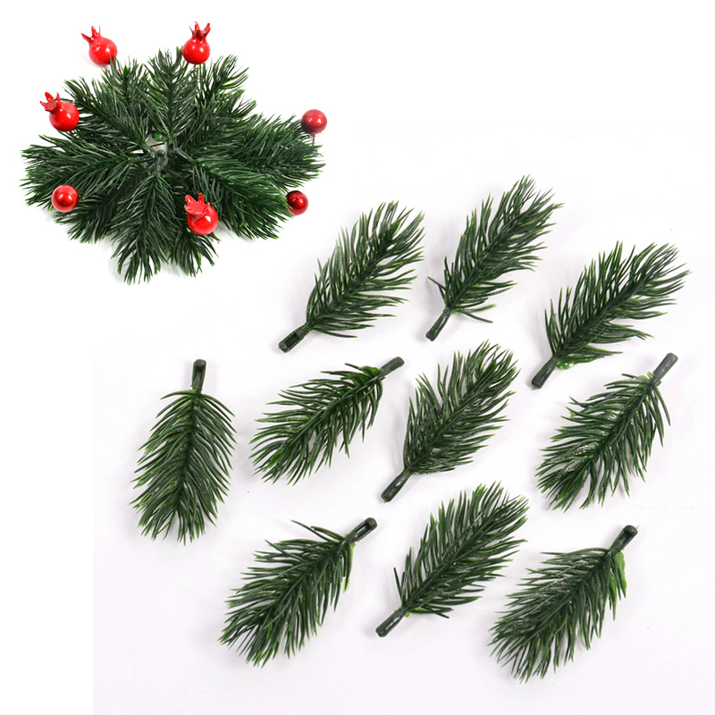 10pcs Plastic Artificial Plants Pine Branches Christmas Tree Wedding Decorations DIY Handcraft Supply Kids Gift Bouquet