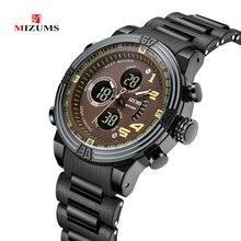 Mizums Men Watches Luxury Brand Fashion Man Quartz Watch Male Stainless Case Waterproof Clock Mens Week Display Wristwatch reloj