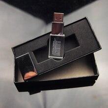 Pen drive de cristal de vidro do usb com a vara clara conduzida do usb do metal 2.0 4gb 8g 16g 32gb presente da fotografia pendrive (sobre 10 pces logotipo livre)