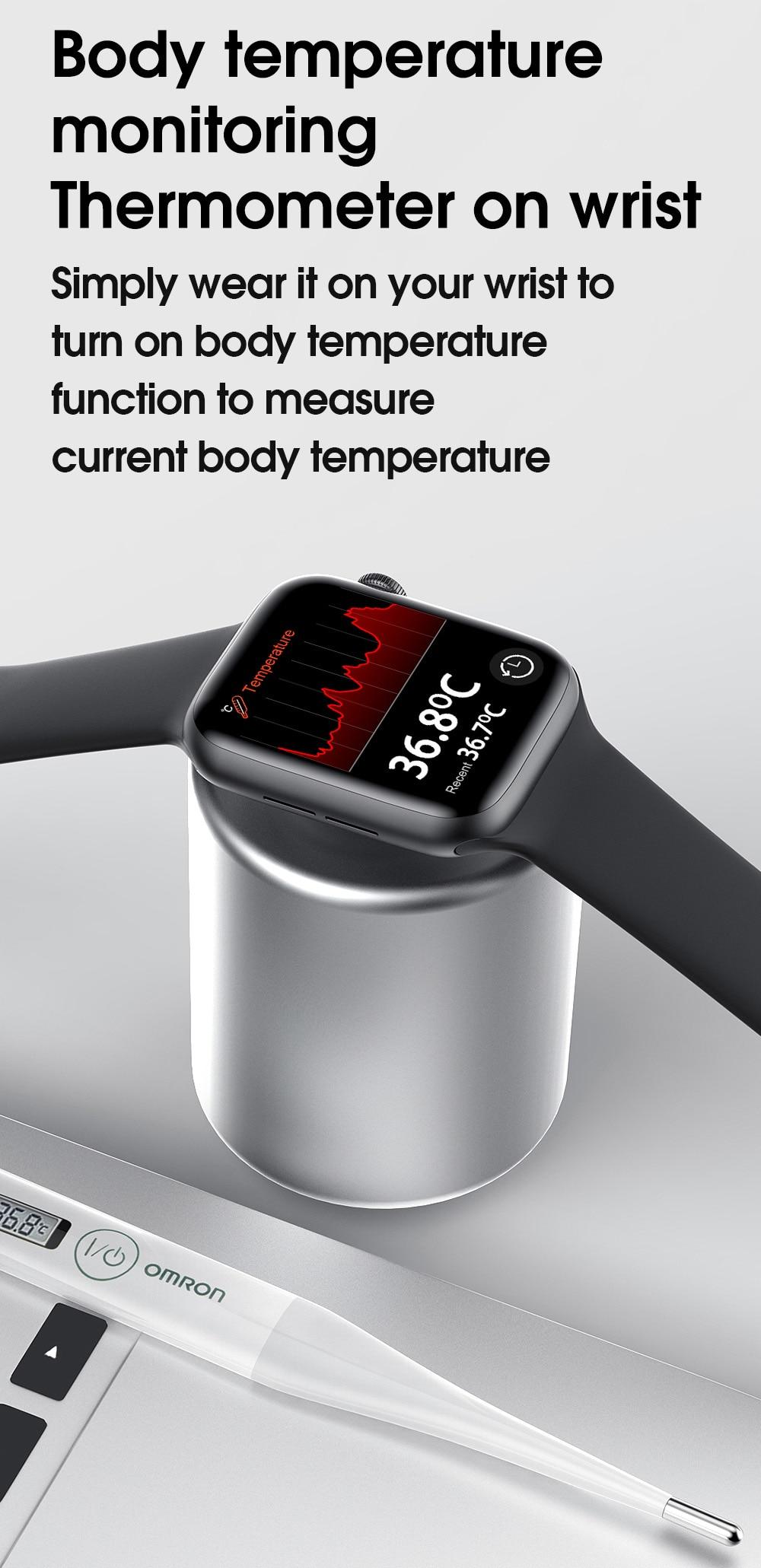 Hecc4d8d9c17341e1b8f847e4c3f90c45f TREZER IWO W26+ Pro Smart Watch 1.75 Inch 320*385 Series 6 IPS Full Touch Screen Custom Watch Face Smartwatch Men Women PK HW22