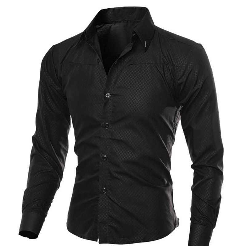 Oeak mens 긴 소매 셔츠 패션 격자 무늬 솔리드 컬러 버튼 탑 슬림 피트 비즈니스 캐주얼 소프트 통기성 셔츠 2019 신규