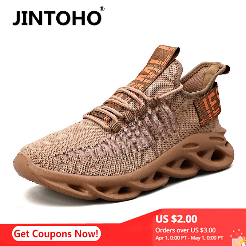JINTOHO Men Lightweight Blade Running Shoes Shockproof Lack Up Breathable Male Sneakers Height Increase Walking Gym Shoes Man