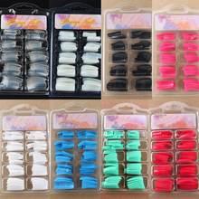 100 шт., накладные ногти с полным покрытием во французском стиле, акриловые накладные ногти, маникюрные инструменты для наращивания ногтей