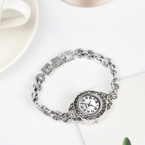 Image 4 - REVELRY Luxury Antique Silver Wrist Watch Turkish Rhinestone Bracelet Watches Women Vintage Geneva Designer Quartz Watch Womens