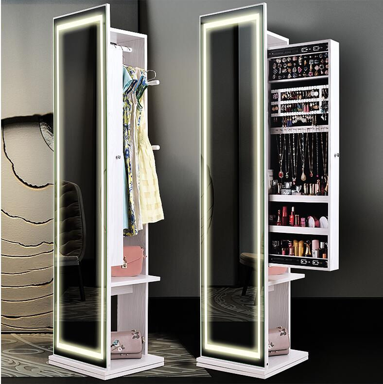 Clothes Mirror Cloakroom All-body Ground Mirror Simple Modern Living Room Receiving Cabinet Multifunctional Rotary Testing Mirro