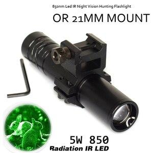Image 2 - 10W IR 850nm LED IR LED פנס לפיד ארוך טווח אינפרא אדום ציד אור ראיית לילה לפיד בהר לחץ מתג אקדח הר