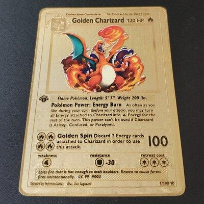 Покемон Игры Аниме битва карта золотая металлическая карточка Чаризард Пикачу коллекция карточная фигурка Модель Детская игрушка подарок - Цвет: Golden Charizard