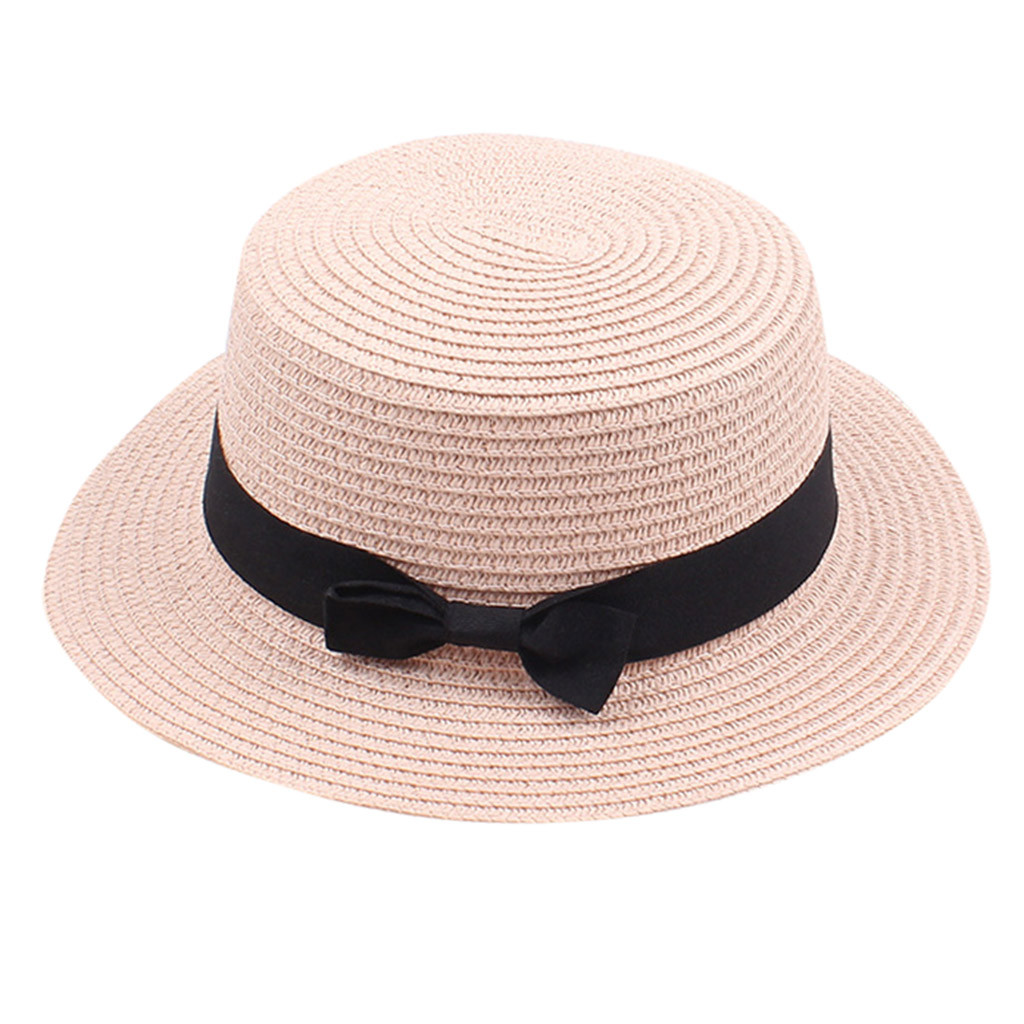 Women Bowknot Print Large Brimmed Hat Beach Sun Protection Foldable Hat Cap Summer Vacation Bucket Hats Bowler