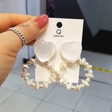 2019 South Koreas New Pearl-like String Loving Earrings Girls Heart Sweet Circle