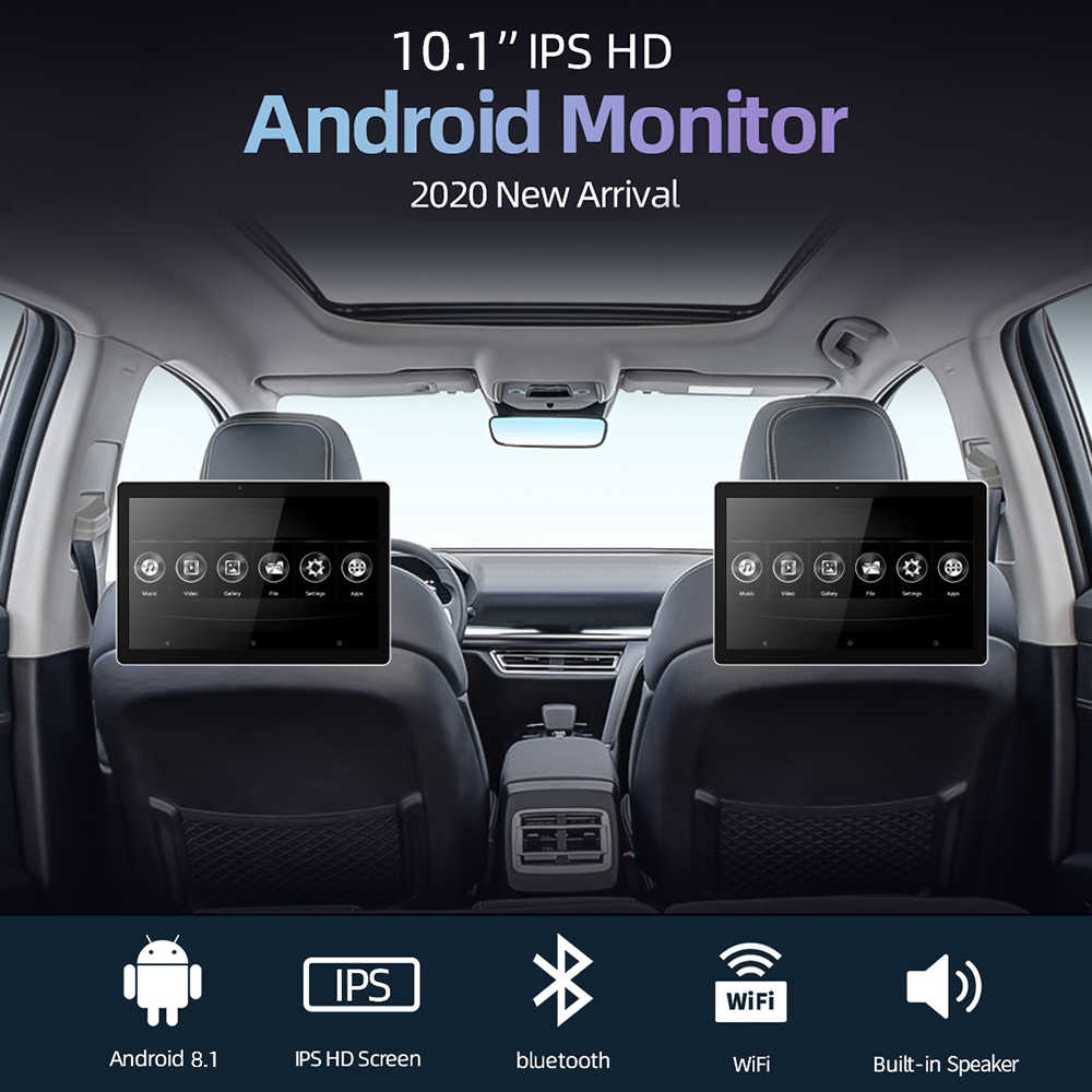 10.1 Inch Android Monitor Sandaran Kepala Mobil Video HD 1080P Layar Sentuh WiFi/Bluetooth/USB/SD//FM MP5 Video Player