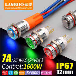 LANBOO 12E series high quality switch 7A high power 1NO With ring or power LED IP67 metal push button switch with car boat