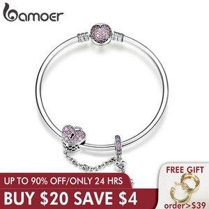 Image 1 - Bamoer Echt 925 Sterling Zilveren Liefde Sleutel Hart Vorm Armbanden Armbanden Voor Vrouwen Paars Zirkoon Valentine Gift Sieraden SCB820