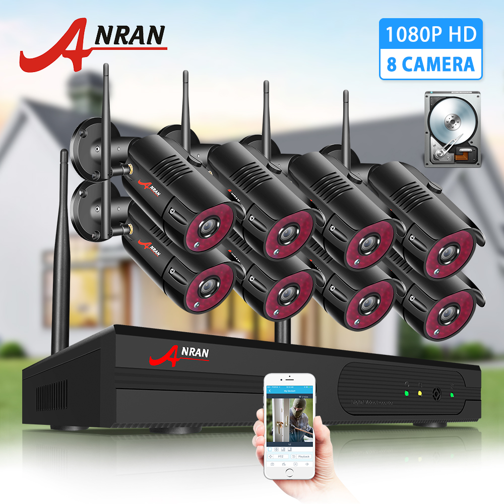ANRAN 1080P 8CH NVR Outdoor Wireless 4*2.0 MP WiFi IP Security Camera System 1TB
