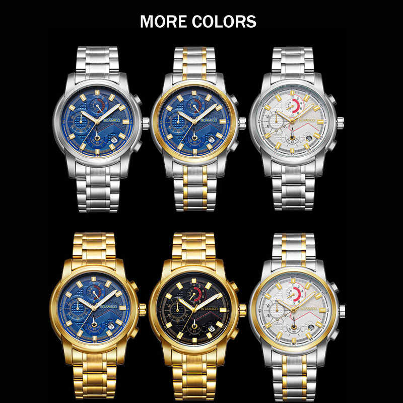 Relojes de lujo para hombre, cronógrafo de BOAMIGO, relojes deportivos para hombre, resistente al agua, acero, moda, reloj de cuarzo para hombre