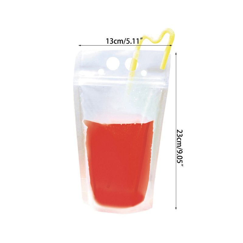 50 Pack Drink Bags Stand up Reclosable Zipper Drinking Pouches Q1QC