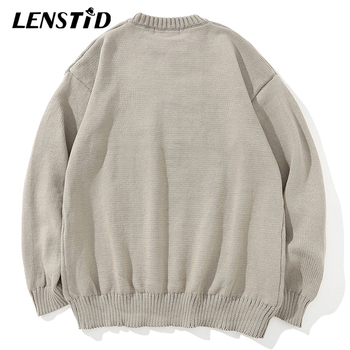 LENSTID Men Hip Hop Knitted Jumper Sweaters Angel Lightning Printed Streetwear Harajuku Autumn Oversize Hipster Casual Pullovers
