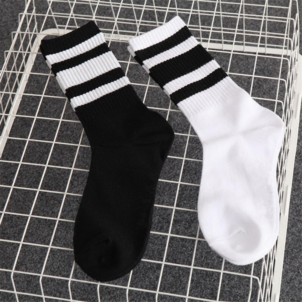 Women Men Socks Black White Color Fashion Style Simple Striped Sports Socks Medium Length Casual Socks