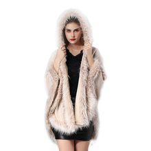 NeW 2019 Winter Faux Fur Coat Women Ponchos And Capes Top Wedding Dress Shawl Hooded Cape Fluffy For #2019.8.19