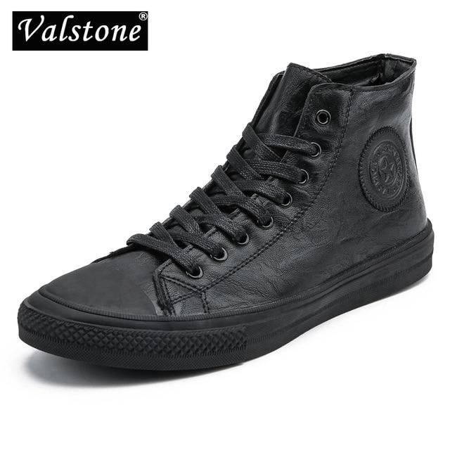Valstone الرجال أحذية رياضية من الجلد مقاوم للماء حذاء كاجوال خمر الذكور الأحذية ستوكات لينة الأحذية الشارع الأحذية الدانتيل متابعة hombres